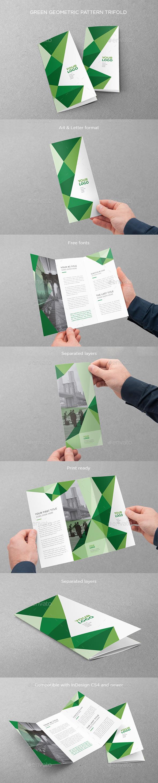 Green Geometric Pattern Trifold - Brochures Print Templates