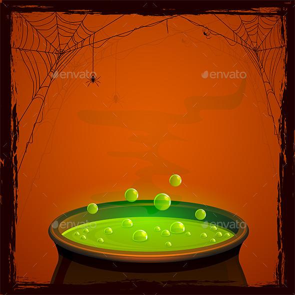 Halloween Cauldron with Potion - Halloween Seasons/Holidays