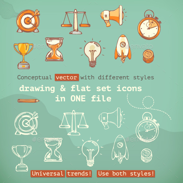 3d and Flat Icons - Man-made Objects Objects