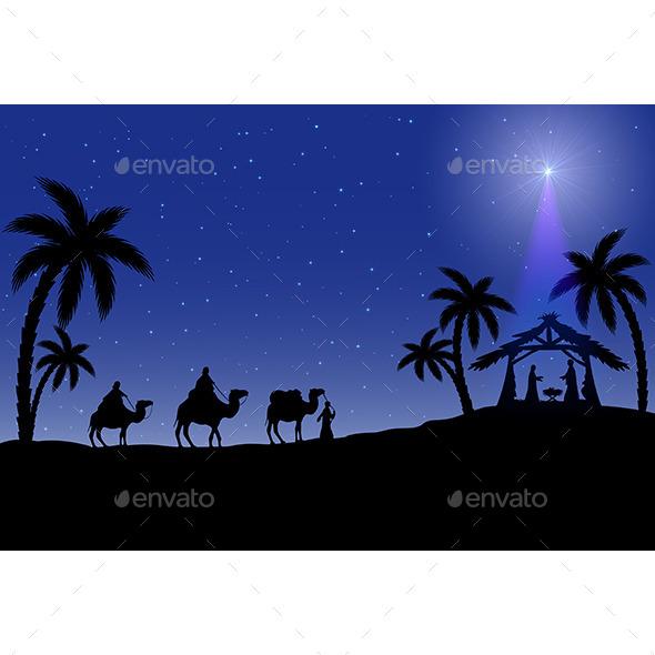 Christian Christmas Scene - Christmas Seasons/Holidays