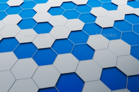 Abstract 3D Rendering Of Surface With Hexagons. - Abstract 3D Renders