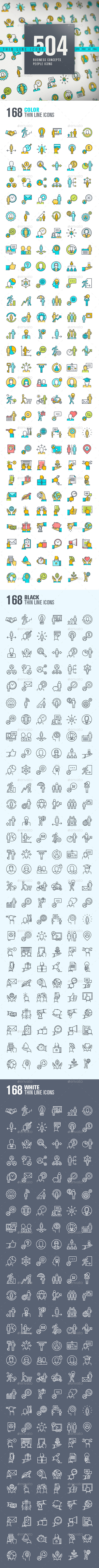 Thin Line People Icons - People Characters