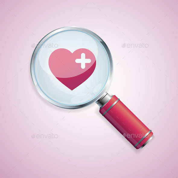 Dating Concept Loupe and Heart - Valentines Seasons/Holidays