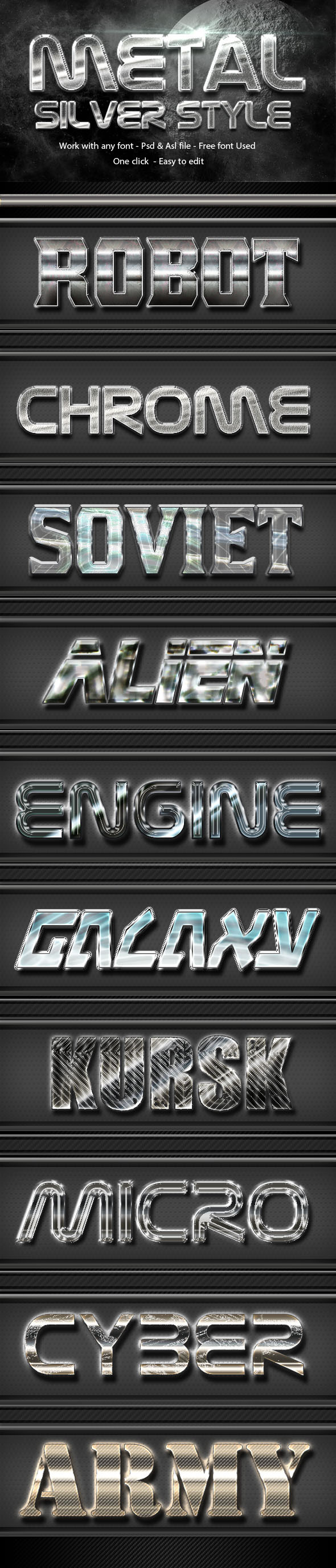 Metal Silver Text Effect Style  Vol 1 - Text Effects Styles