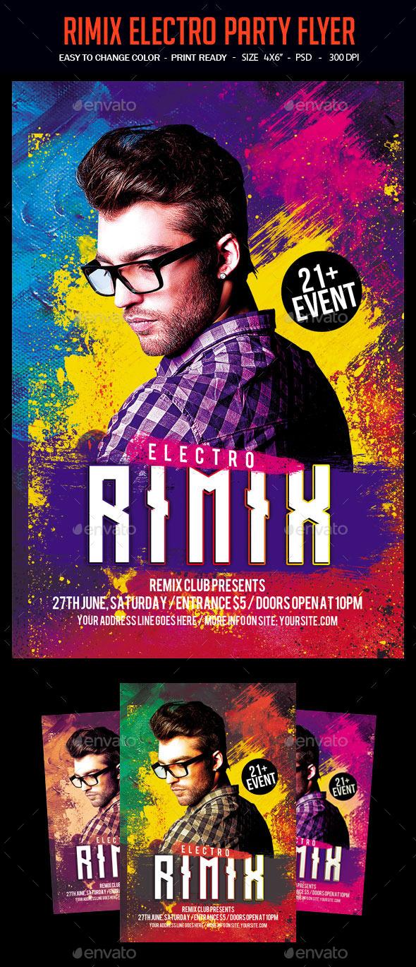 Rimix Electro Party Flyer - Clubs & Parties Events