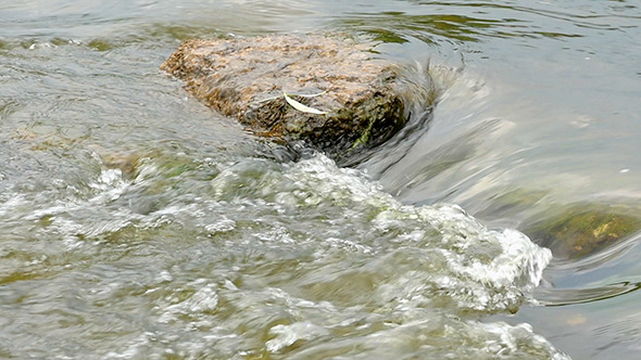 Fast Flowing River With Stones In The Water Slow