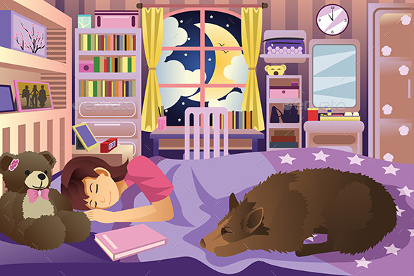 Girl Sleeping in Her Room With Her Dog - People Characters