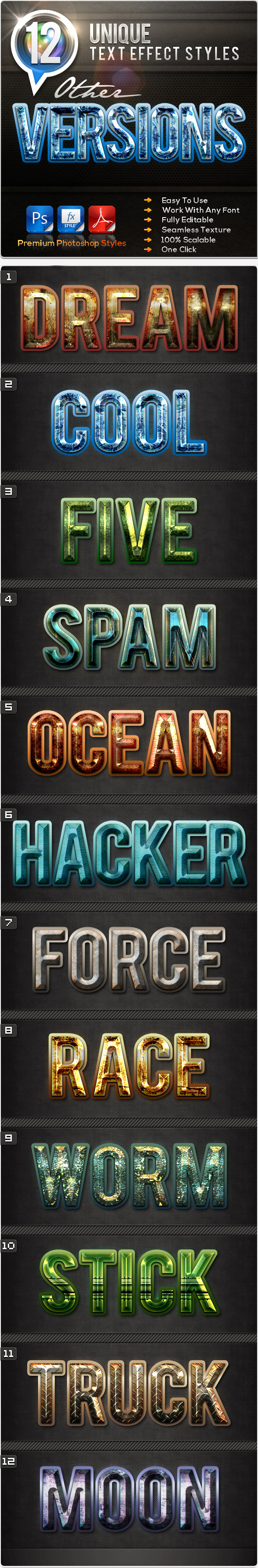12 Unique Other Versions - Text Effects Styles