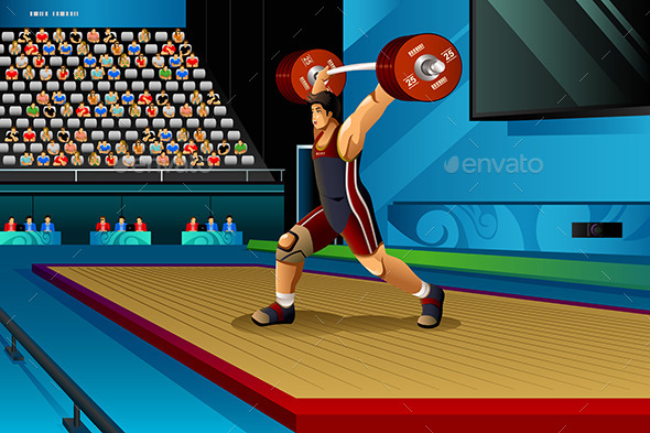 Man Lifting Weight in the Competition - Sports/Activity Conceptual