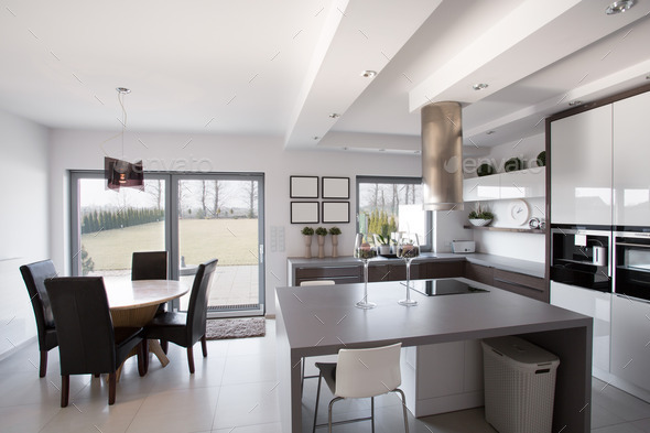 Kitchen with dining room - Stock Photo - Images