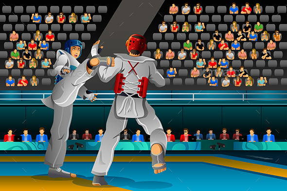 Men Competing in a Taekwondo Competition - Sports/Activity Conceptual