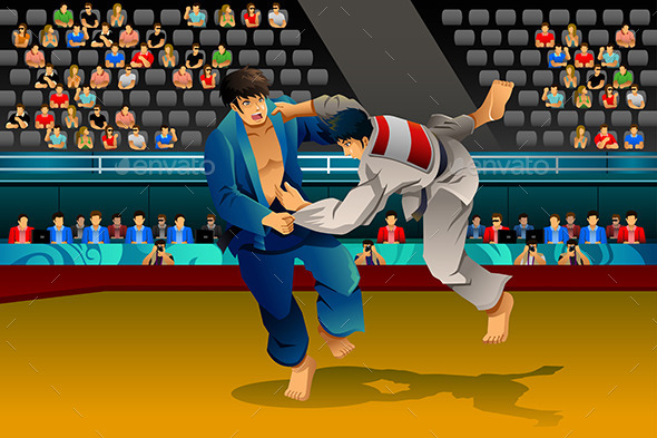Men Doing Judo in the Competition - Sports/Activity Conceptual