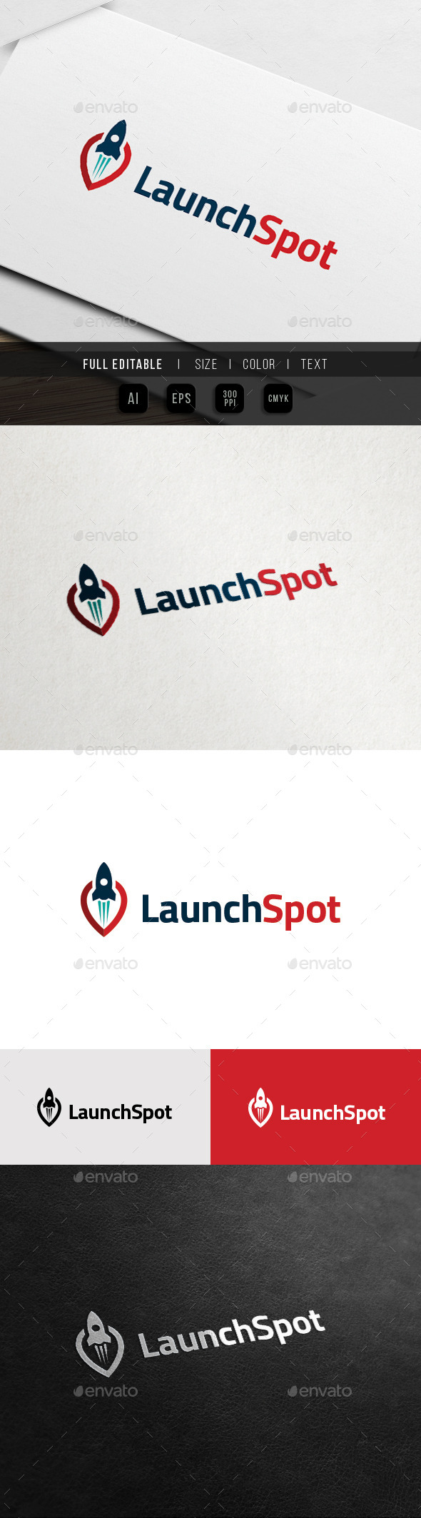 Launch Spot - Launching Target - Locator Logo - Objects Logo Templates