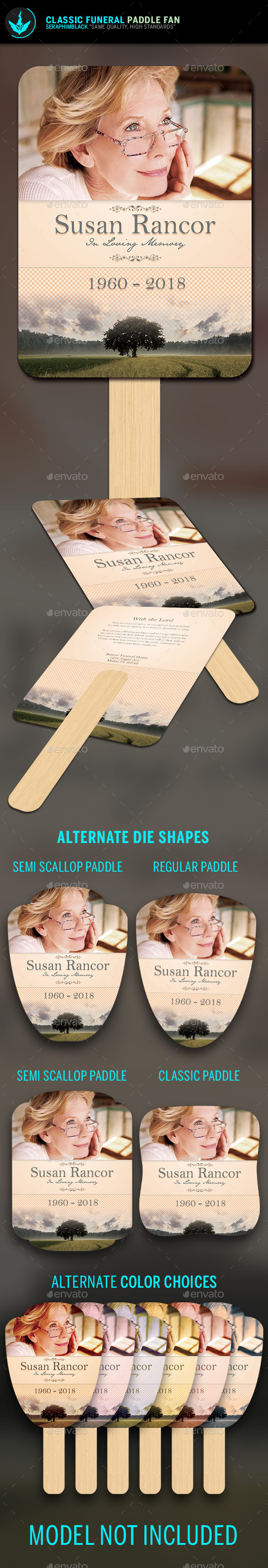 Classic Funeral Paddle Fan Template - Miscellaneous Print Templates