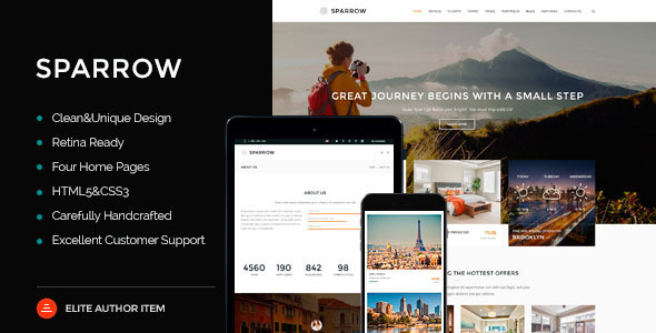 Sparrow - Responsive Travel Online Booking Template - Travel Retail