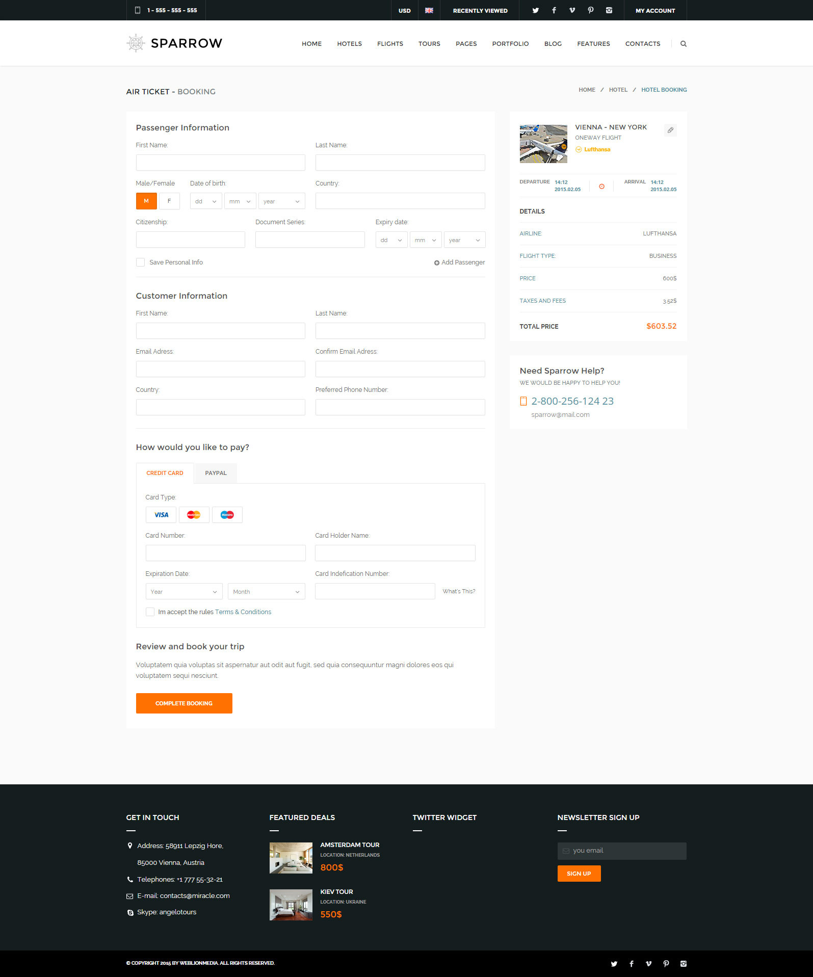 Sparrow - Responsive Travel Online Booking Template by WebLionMedia