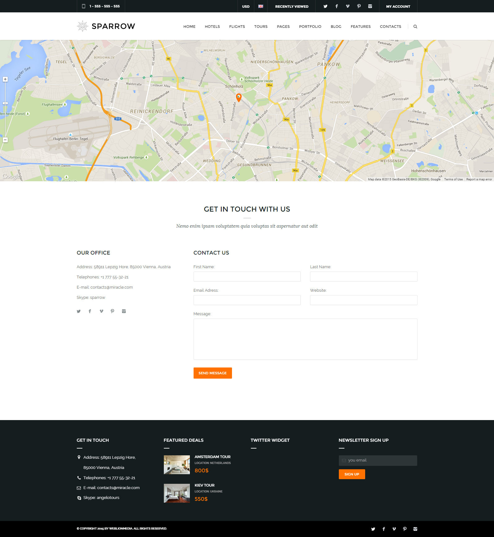 sparrow responsive travel online booking template by weblionmedia