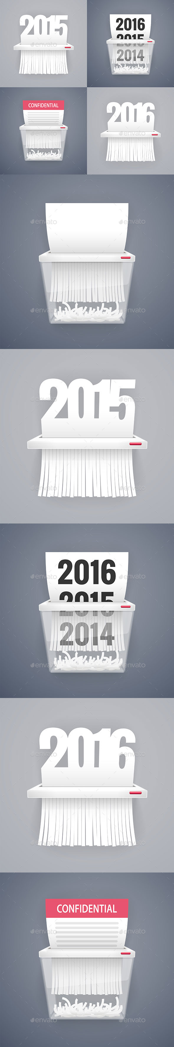 Set of Paper Shredder Illustrations with Dates - Man-made Objects Objects