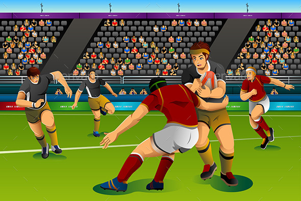 People Playing Rugby Seven in the Competition - Sports/Activity Conceptual