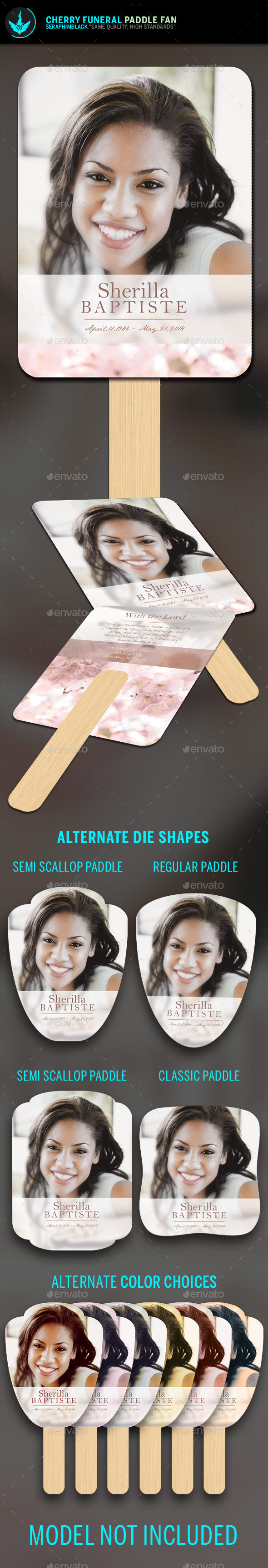 Cherry Funeral Paddle Fan Template - Miscellaneous Print Templates