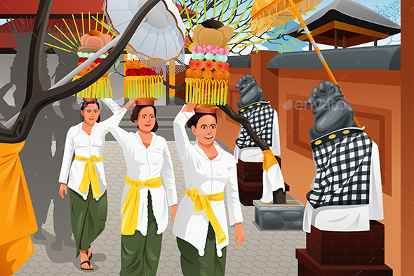 Balinese People in a Traditional Celebration - Seasons/Holidays Conceptual