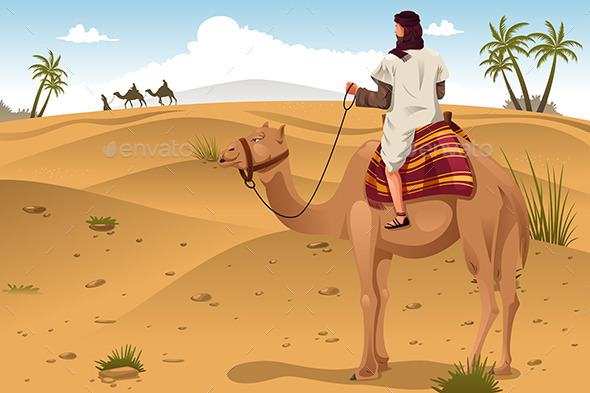 Arabian Riding Camels on the Desert - People Characters