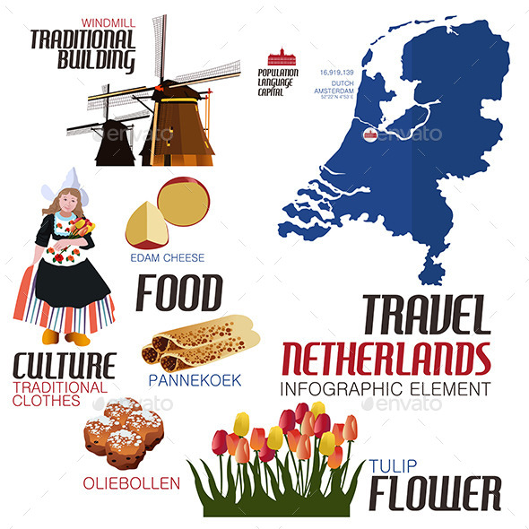 Infographic Elements for Traveling to Netherland - Travel Conceptual