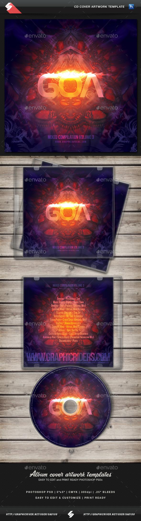 Goa Trance volume 3 CD Cover Artwork Template