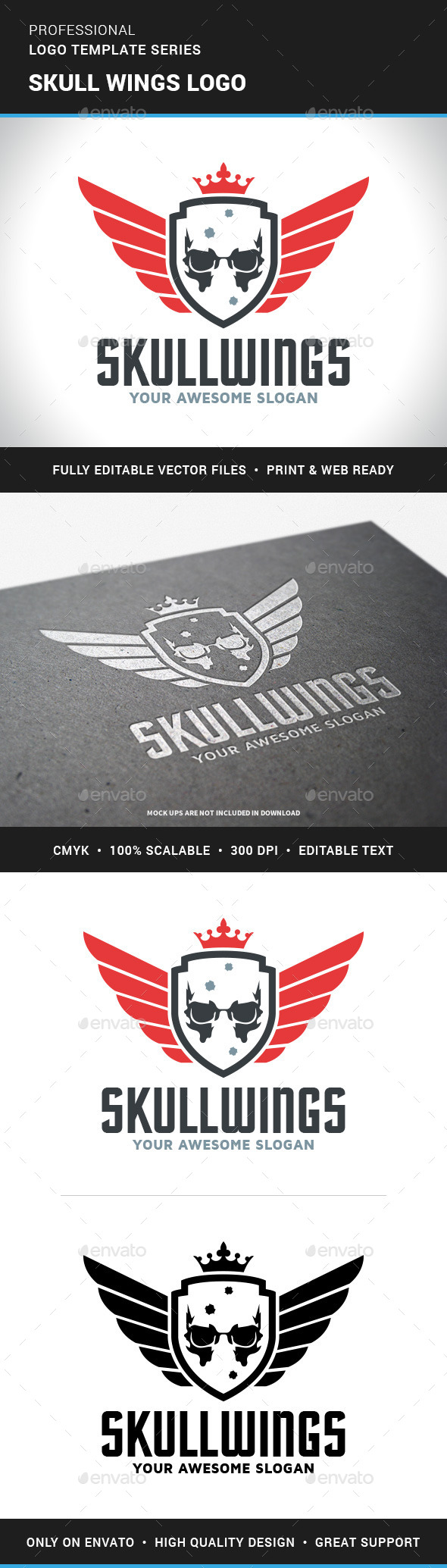 Skull Wings Logo Template - Crests Logo Templates