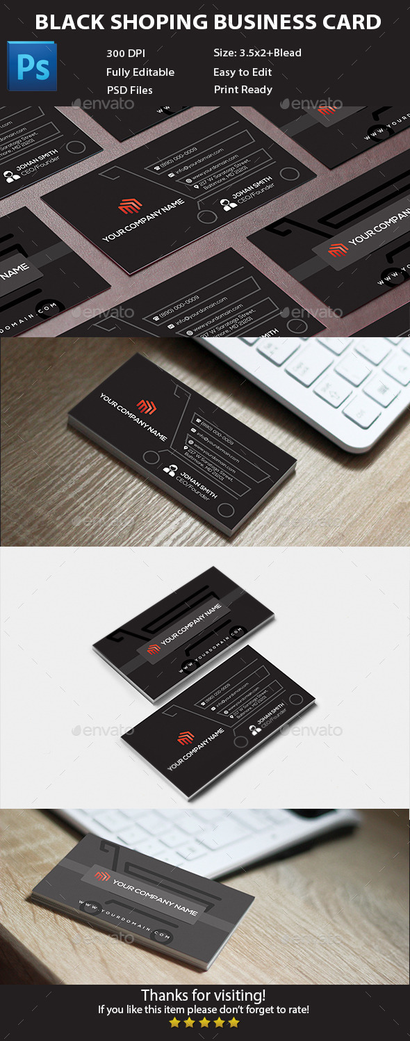 Black Shopping Business Card - Corporate Business Cards