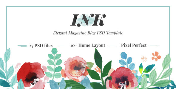 INK – Elegant Magazine Blog PSD Template