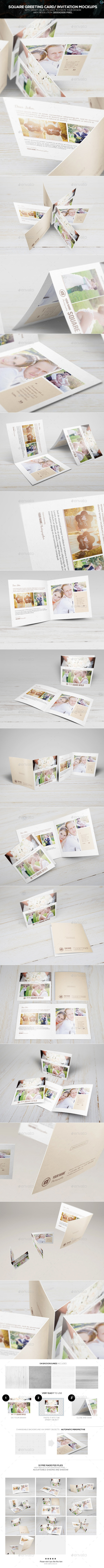 Square Greeting Card - Invitation Mockups - Miscellaneous Print