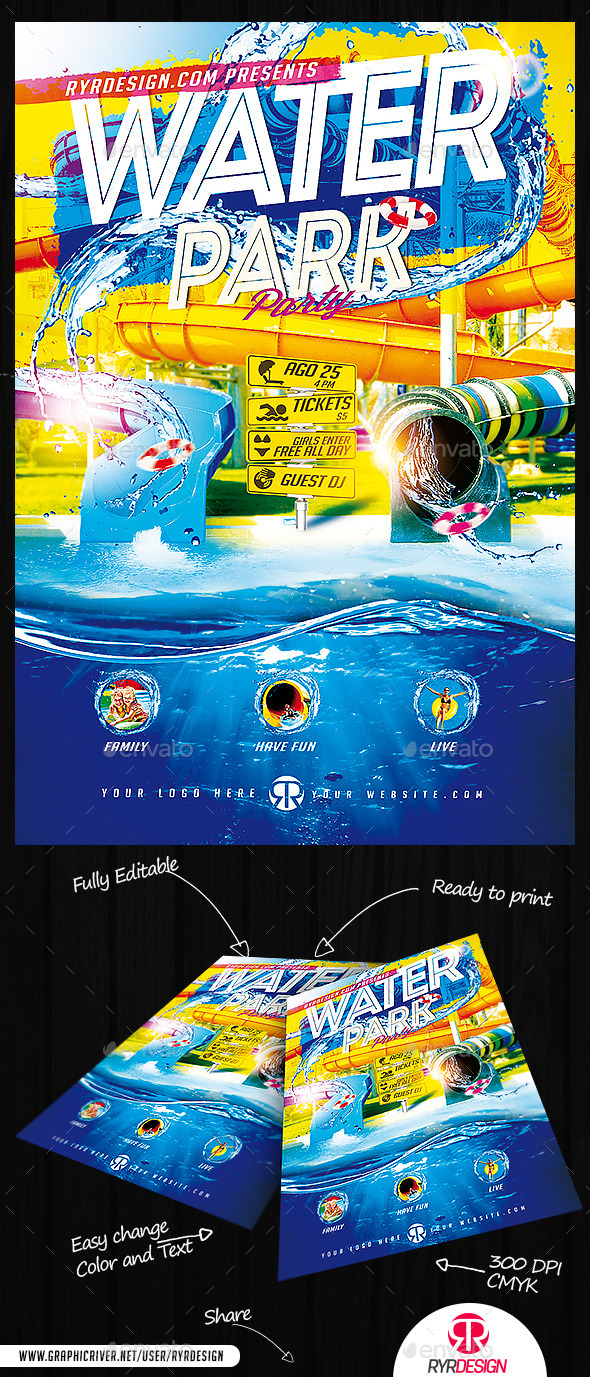 Water Park Flyer PSD - Events Flyers