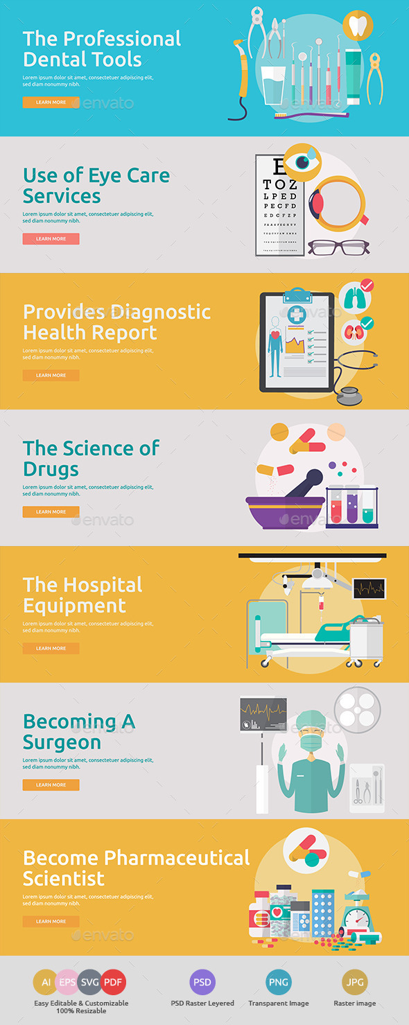 Flat Concept Banners for Medical 2 - Health/Medicine Conceptual