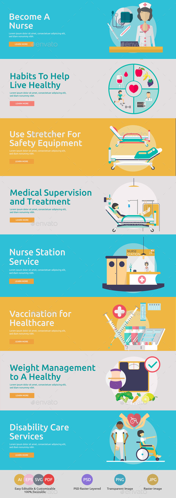 Flat Concept Banners for Medical 3