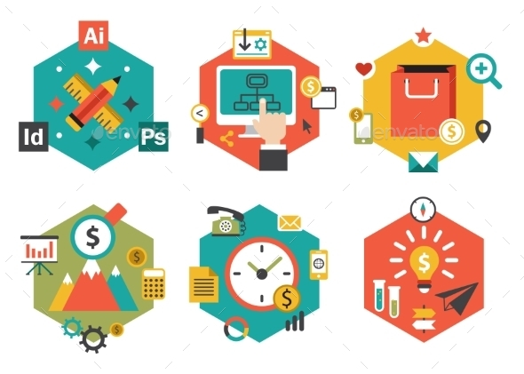 Abstract Colorful Flat Business and Finance Icons - Miscellaneous Vectors