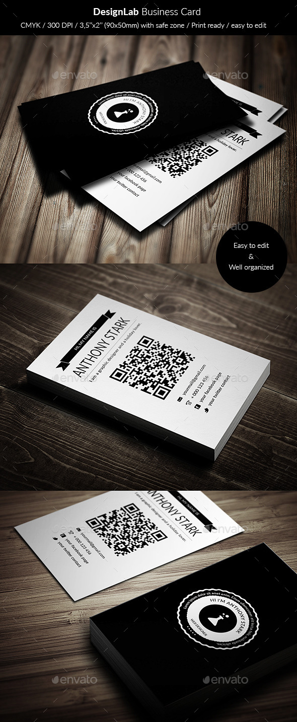 DesignLab Business Card - Simple & Retro - Retro/Vintage Business Cards