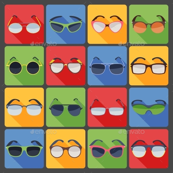 Sunglasses Glasses Fashion Flat Icons Set  - Man-made objects Objects