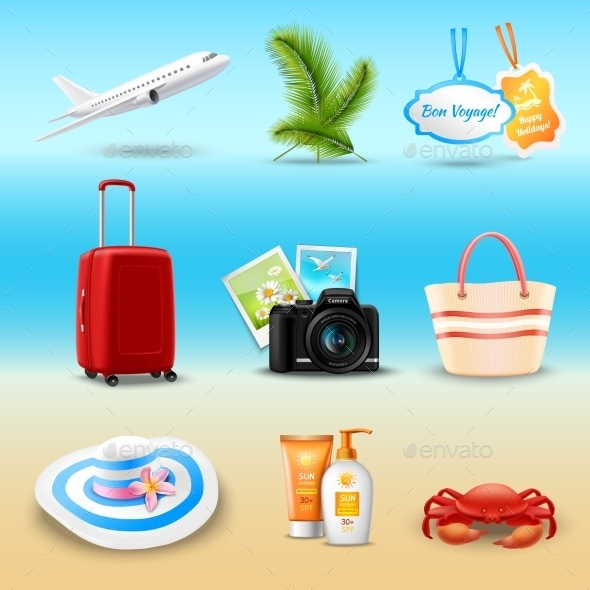 Vacation Realistic Icons - Objects Vectors