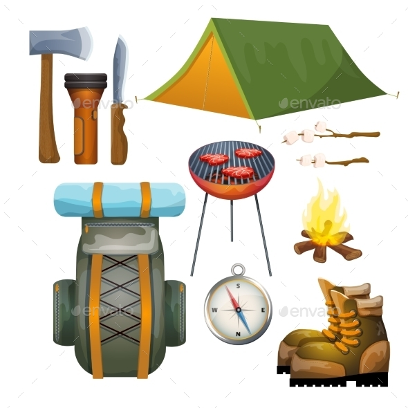 Tourism Hiking Camping Flat Pictograms Collection - Sports/Activity Conceptual