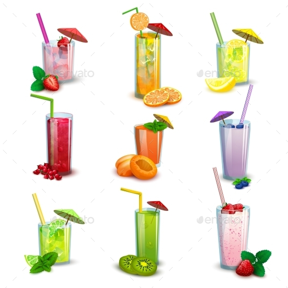 Summer Milkshakes Drinks Flat Icons Set - Food Objects