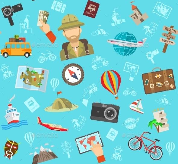Travel Flat Color Pattern  - Backgrounds Decorative