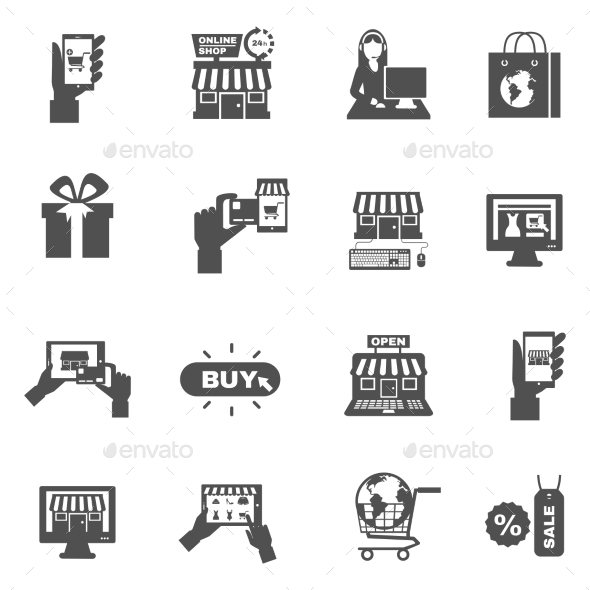 Internet Shopping Silhouette Icon Set  - Web Icons
