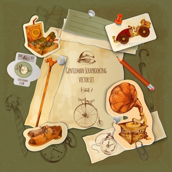 Gentlemen Scrapbooking Set - Decorative Vectors