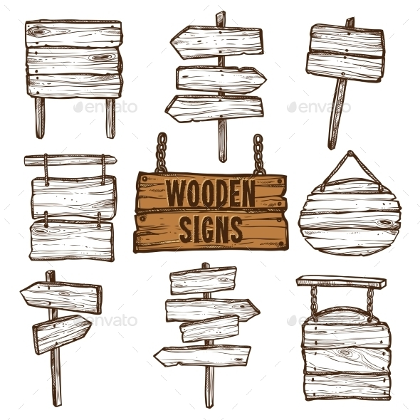 Wooden Signs Sketch Set  - Man-made Objects Objects