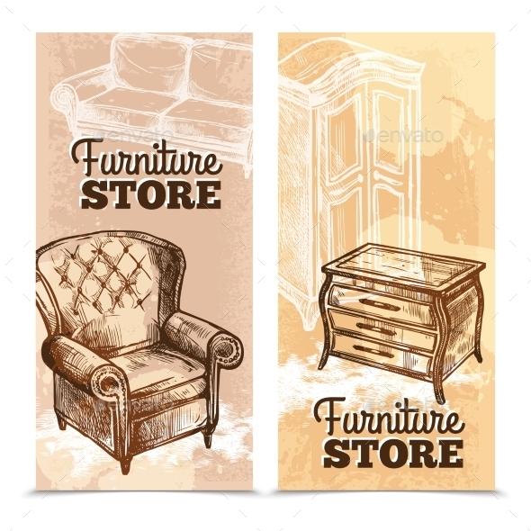 Furniture Banners Vertical - Miscellaneous Vectors