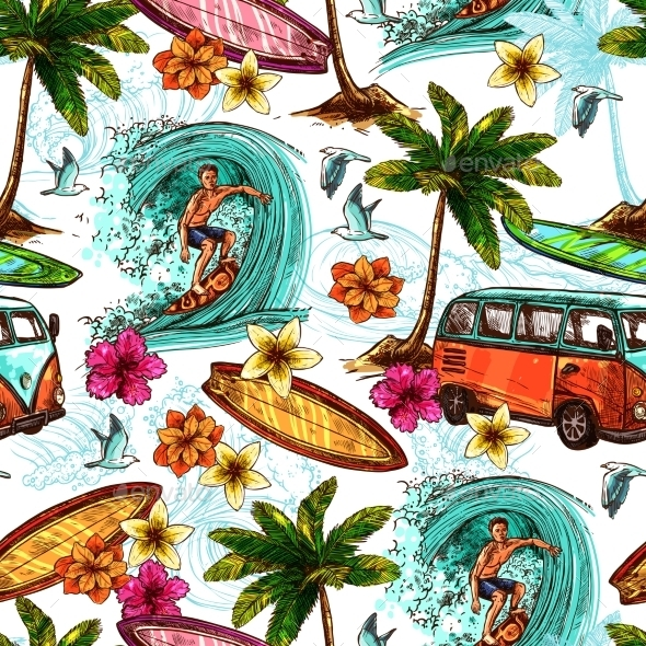 Surf Seamless Pattern - Seasons Nature