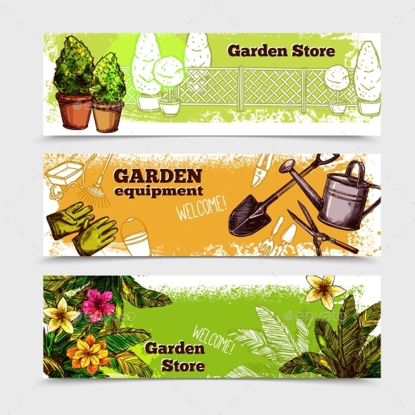 Garden Banner Set - Miscellaneous Vectors