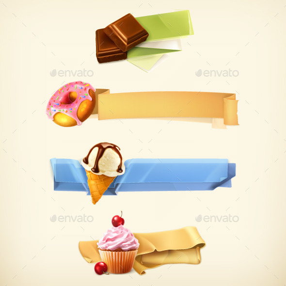 Confectionery Banners Illustration
