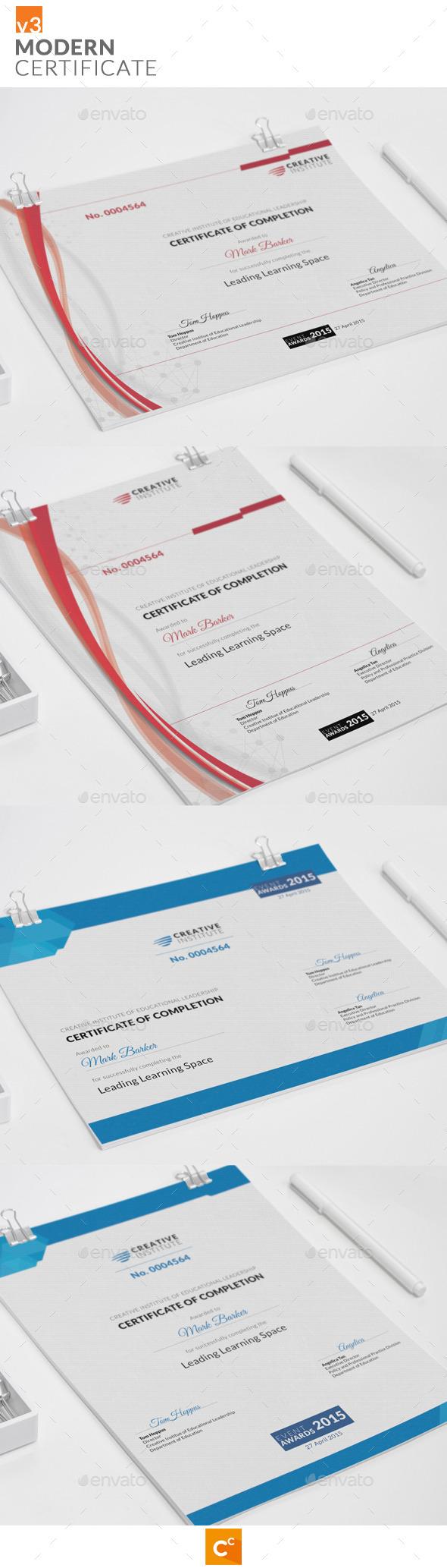 Modern Certificate v3 - Certificates Stationery